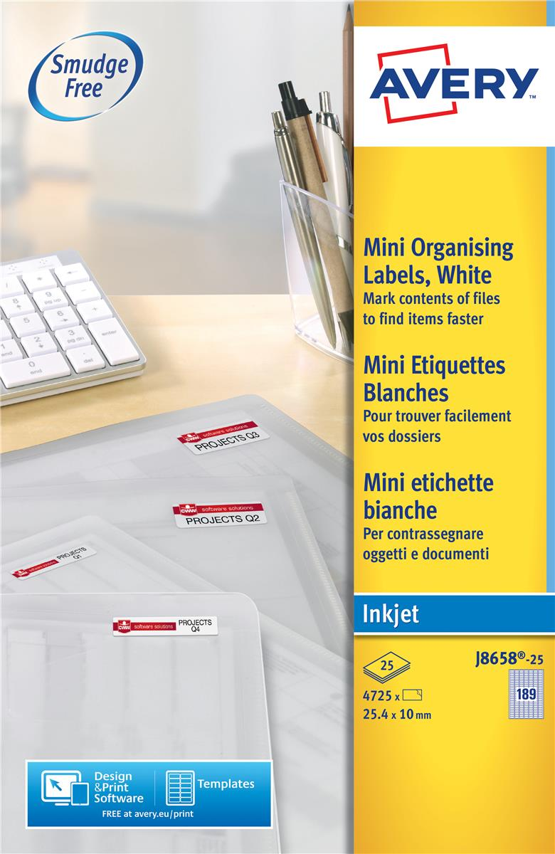Image for Avery Mini Labels Inkjet 189 per Sheet 25.4x10mm White Ref J8658REV-25 [4725 Labels]