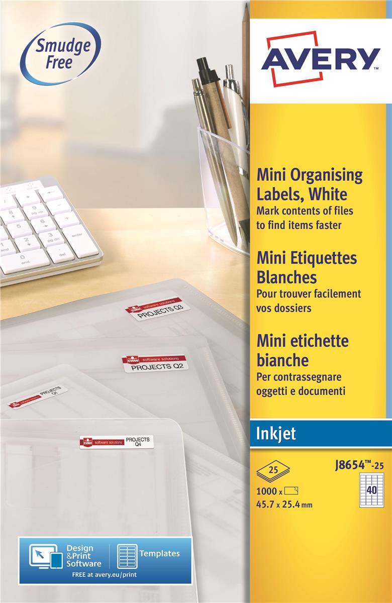Image for Avery Mini Labels Inkjet 40 per Sheet 45.7x25.4mm White Ref J8654-25 [1000 Labels]