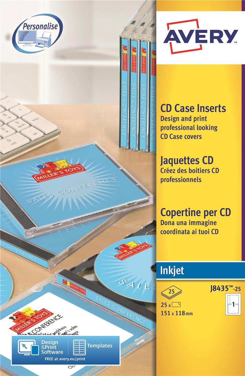 Image for Avery CD/DVD Inkjet Case Cover and Tray Insert 151x121 and 151x118mm Photo Quality Ref J8435-25 [Pack 25]