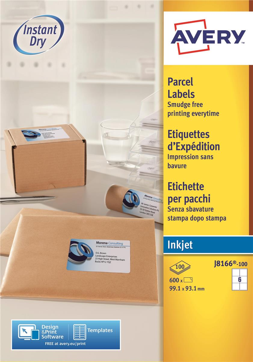 Image for Avery Quick DRY Addressing Labels Inkjet 6 per Sheet 99.1x93.1mm White Ref J8166-100 [600 Labels]