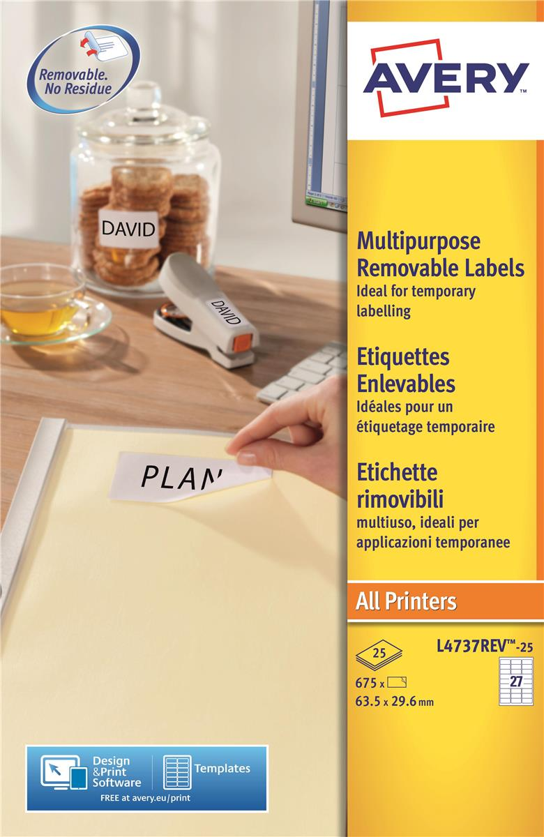 Image for Avery Labels Removable Laser 27 per Sheet 63.5x29.6mm White Ref L4737REV-25 [675 Labels]