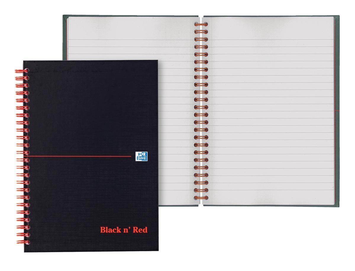 Image for Black n Red Book Wirebound 90gsm Ruled and Perforated 140pp A6 Ref 100080448 [Pack 5]