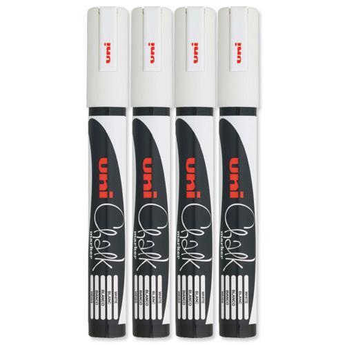 Image for uni Chalk Marker Broad Bullet Tip PWE-5M Line Width 1.8-2.5mm White Ref 153494342 [Pack 4]