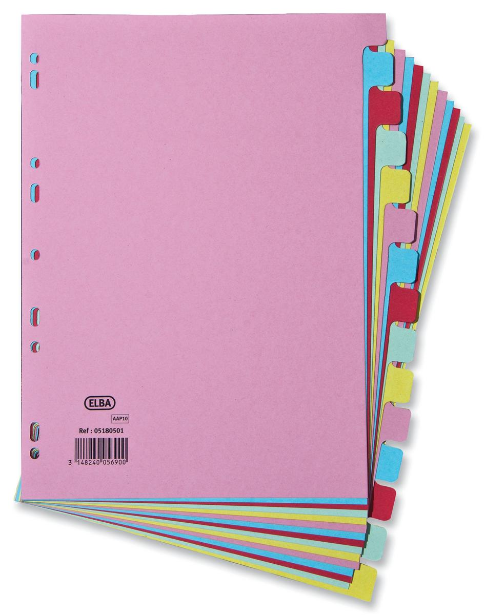 Image for Elba Card Dividers Europunched 15-Part A4 Assorted Ref 400007437