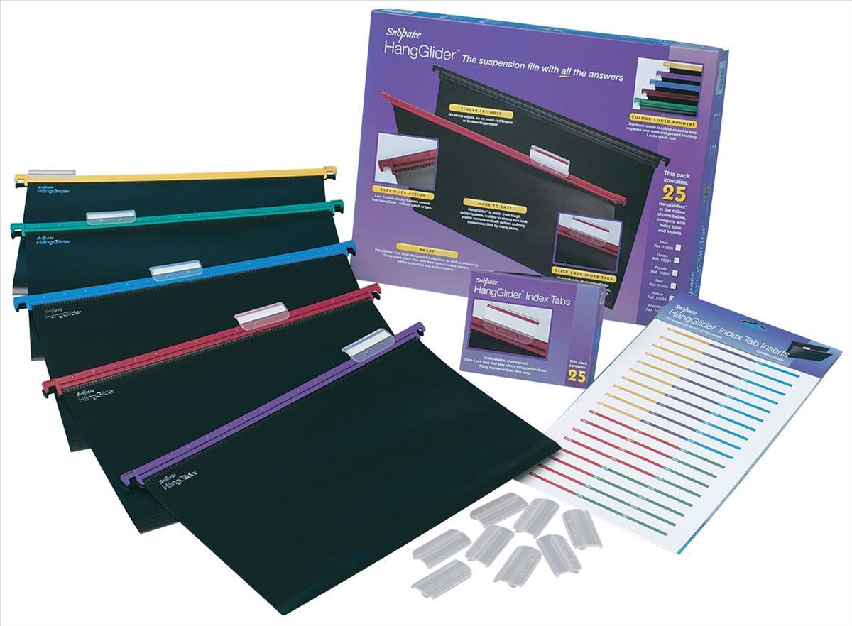Image for Snopake HangGlider Suspension Files Polypropylene A4 Assorted Ref 10296 [Pack 25]