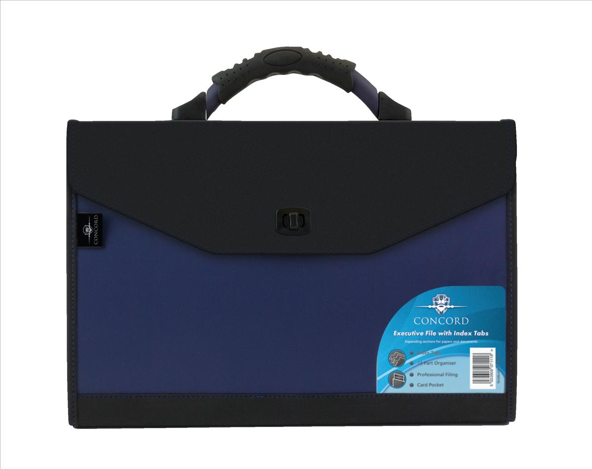 Image for Concord Expanding Organiser File Polypropylene 24 Part Foolscap Blue and Black Ref 7111-PFL