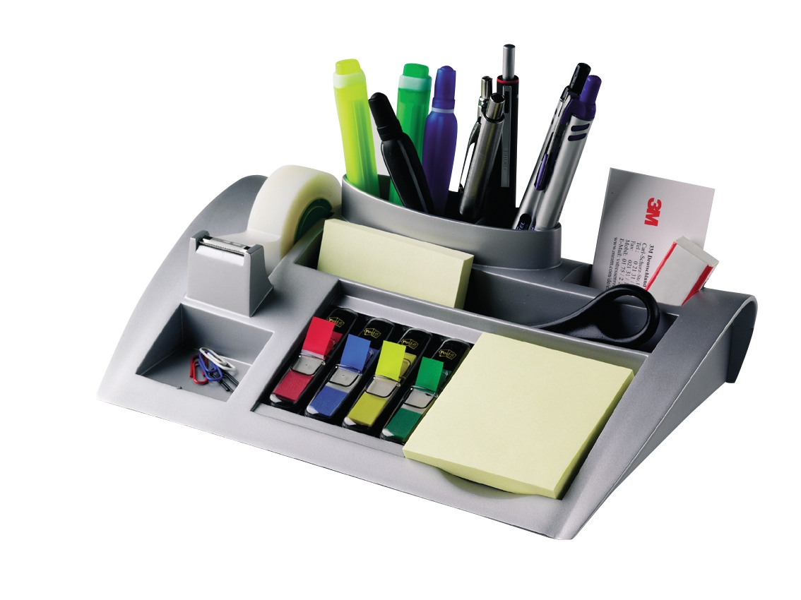 Image for Desktop Organiser Pen Pot Weighted Base Silver