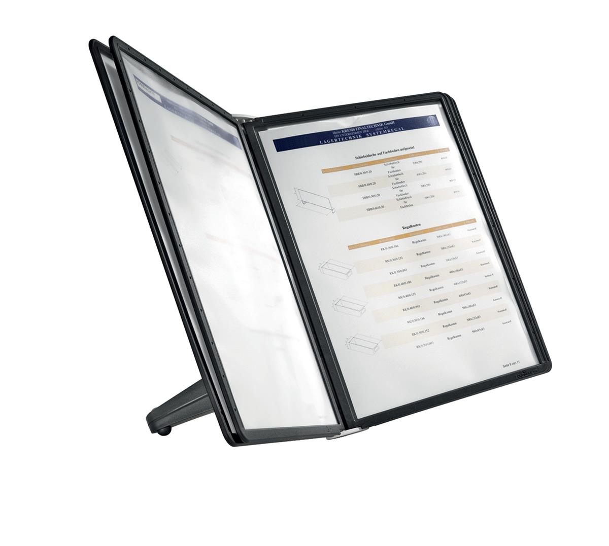 Image for Durable Display Unit Space Saving with 5 Panels A4 Black Ref 5540/01