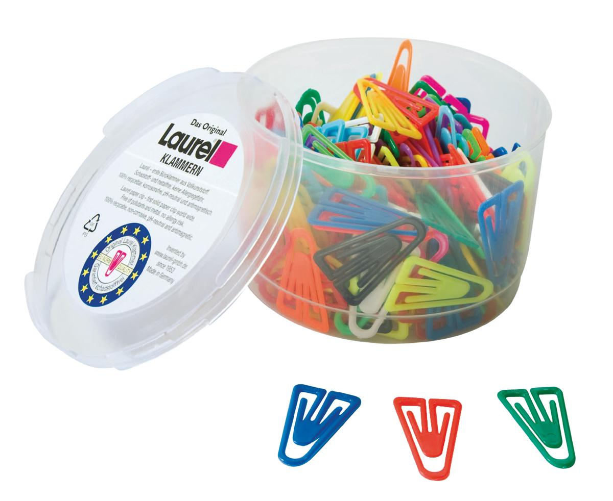 Image for Laurel Paperclips Plastic Non-magnetising 25mm Assorted Colours Ref 126011399 [Pack 500]