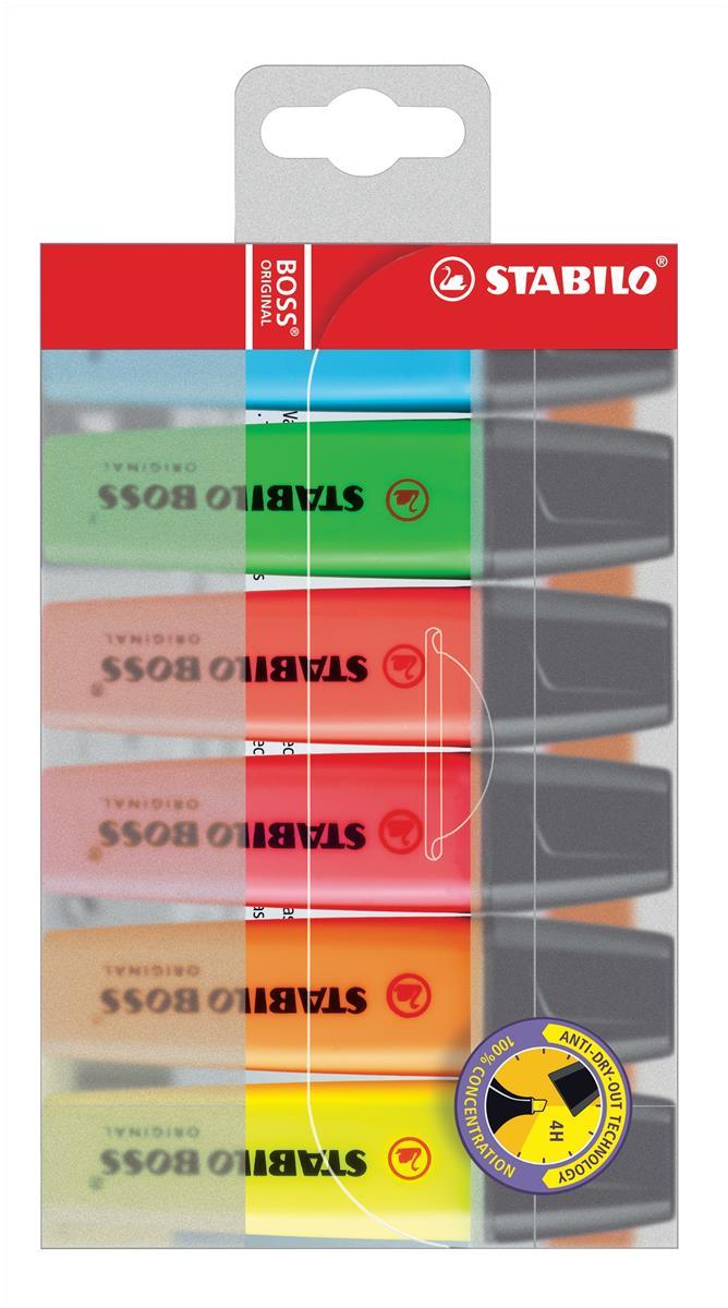Image for Stabilo Boss Highlighters Chisel Tip 2-5mm Line Assorted Ref 70/6 [Wallet 6]