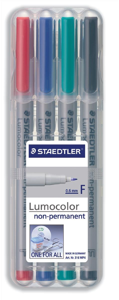 Image for Staedtler 316 Lumocolor Pen Non-permanent Fine 0.6mm Line Assorted Ref 316WP4 [Wallet 4]