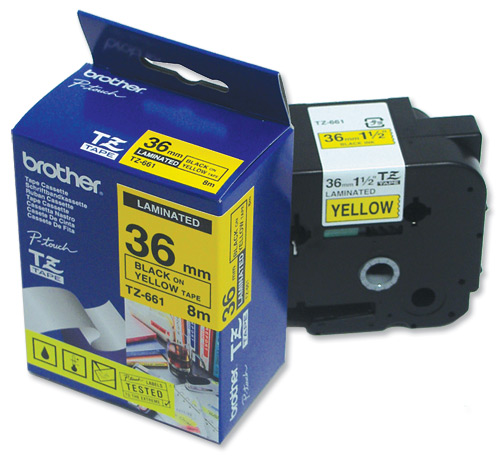 Image for Brother P-touch TZE Label Tape 36mmx8m Black on Yellow Ref TZE661