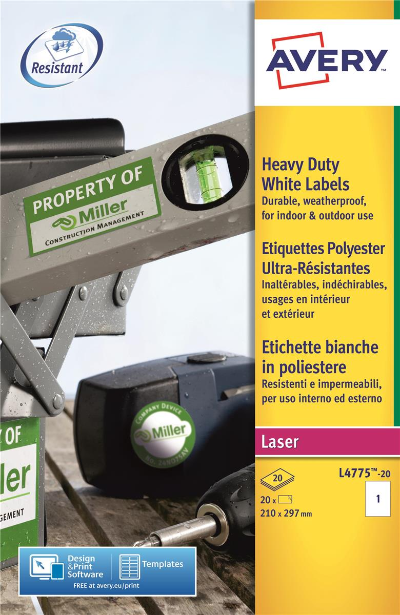 Image for Avery Heavy Duty Labels Laser 1 per Sheet 210x297mm White Ref L4775-20 [20 Labels]