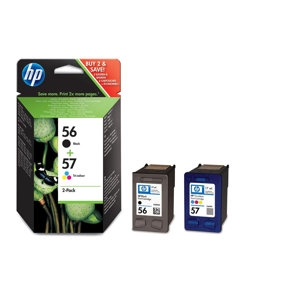 HewlettPackard HP No.56 &57 InkjetCartPageLife Black520pp/Tri-Colour500pp 19ml/17mlRef SA342AEPack 2