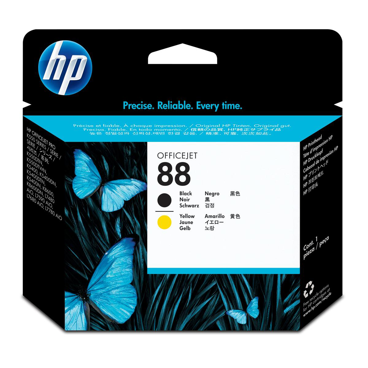 Hewlett Packard HP No.88 Inkjet Printhead Page Life 41,500pp Black & Yellow Ref C9381A