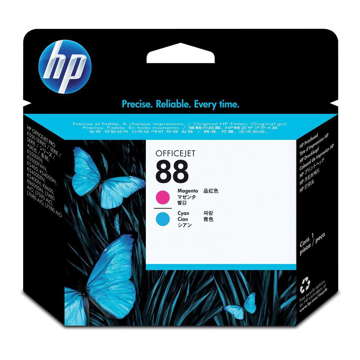 Hewlett Packard [HP] No.88 Inkjet Printhead Page Life 41500pp Cyan & Magenta Ref C9382A