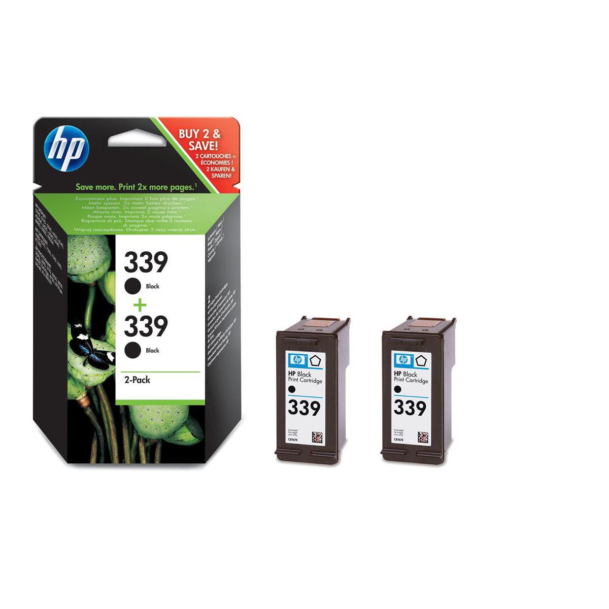 Hewlett Packard HP No.339 Inkjet Cartridge Page Life 860pp 21ml Black Ref C9504EE Pack 2