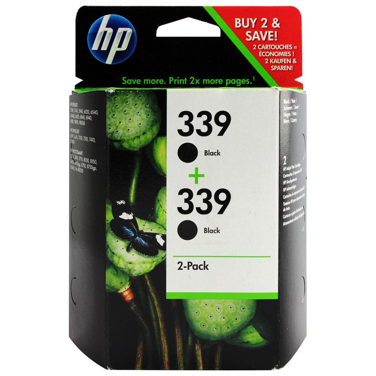 Hewlett Packard [HP] No.339 Inkjet Cartridge Page Life 860pp 21ml Black Ref C9504EE [Pack 2]