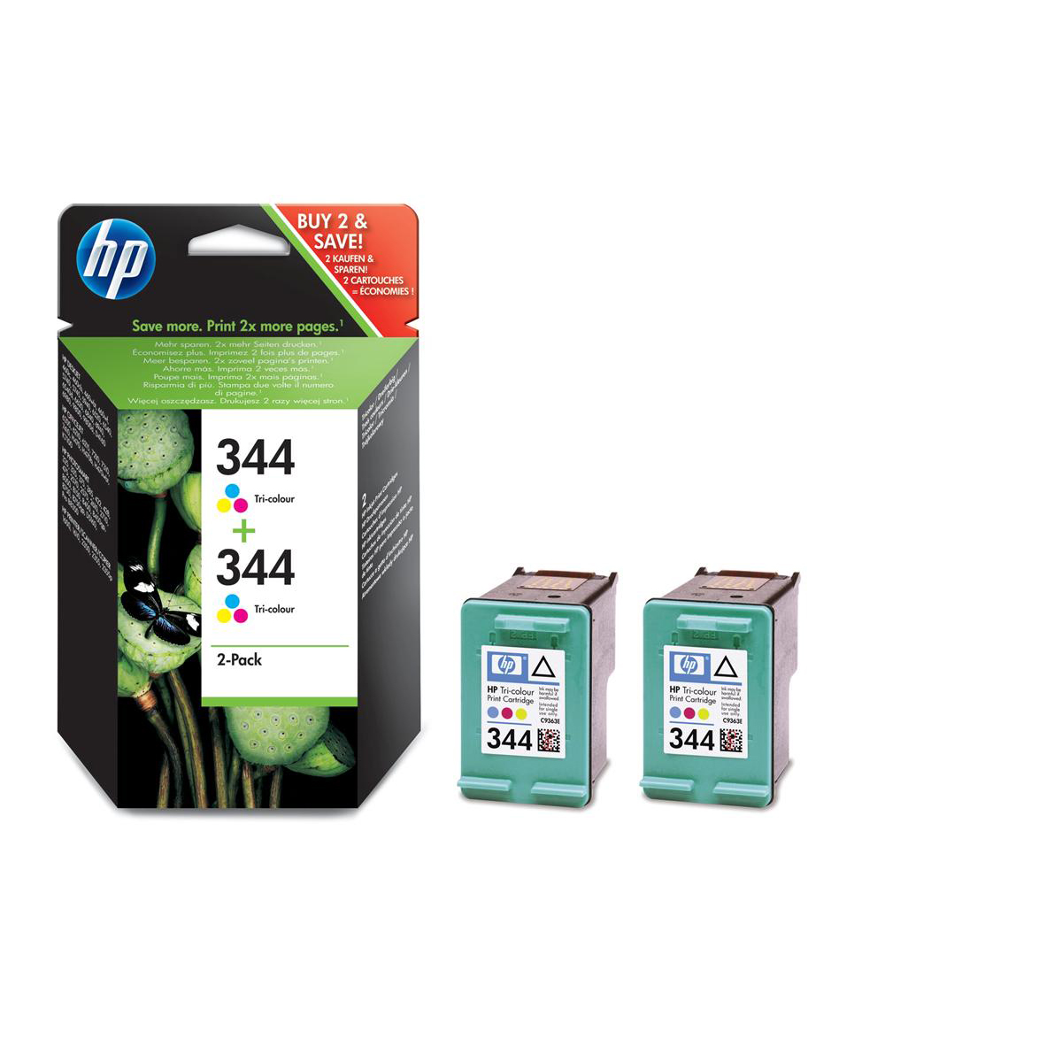 Hewlett Packard HP No.344 Inkjet Cartridge Page Life 560pp 14ml Tri-Colour Ref C9505EE Pack 2