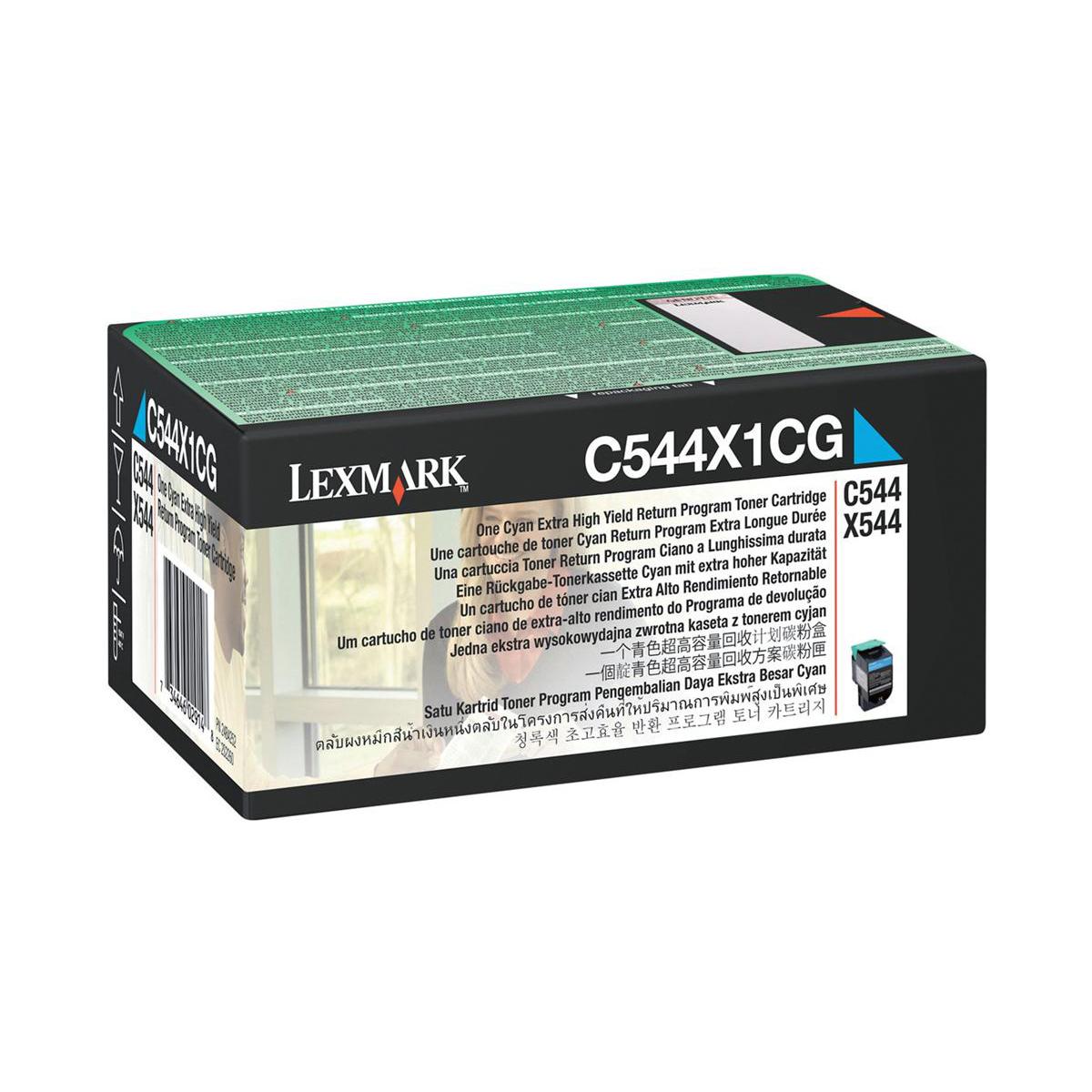 Lexmark C544/X544 Laser Toner Cartridge RP Extra High Yield Page Life 4000pp Cyan Ref C544X1CG