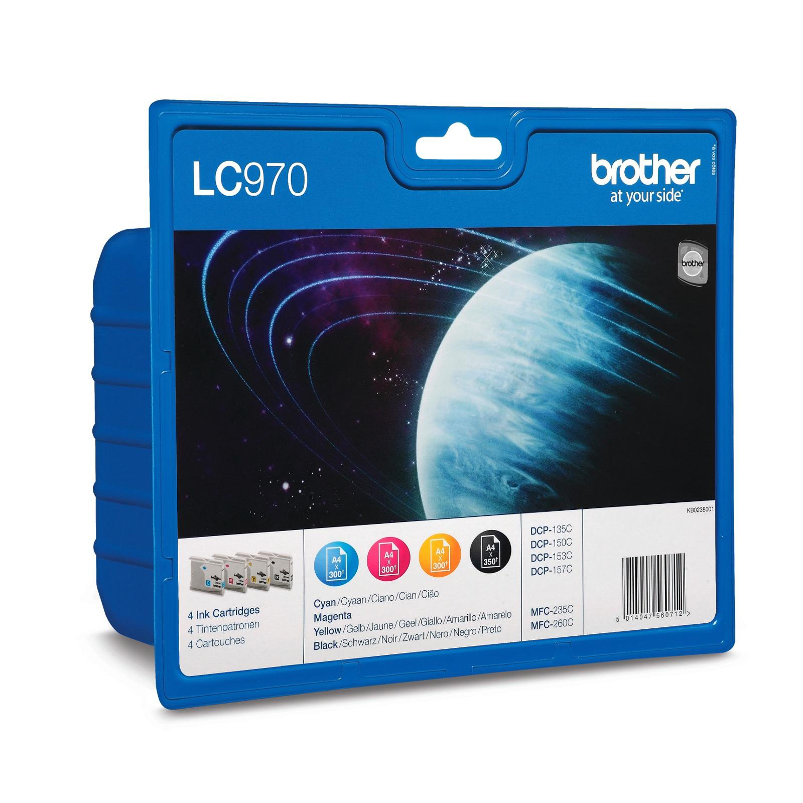 Brother IJ Cartridge Value PK Page Life350pp BlackPage Life300ppCyan/Magenta/Yellow RefLC970VALBP[Pack 4]