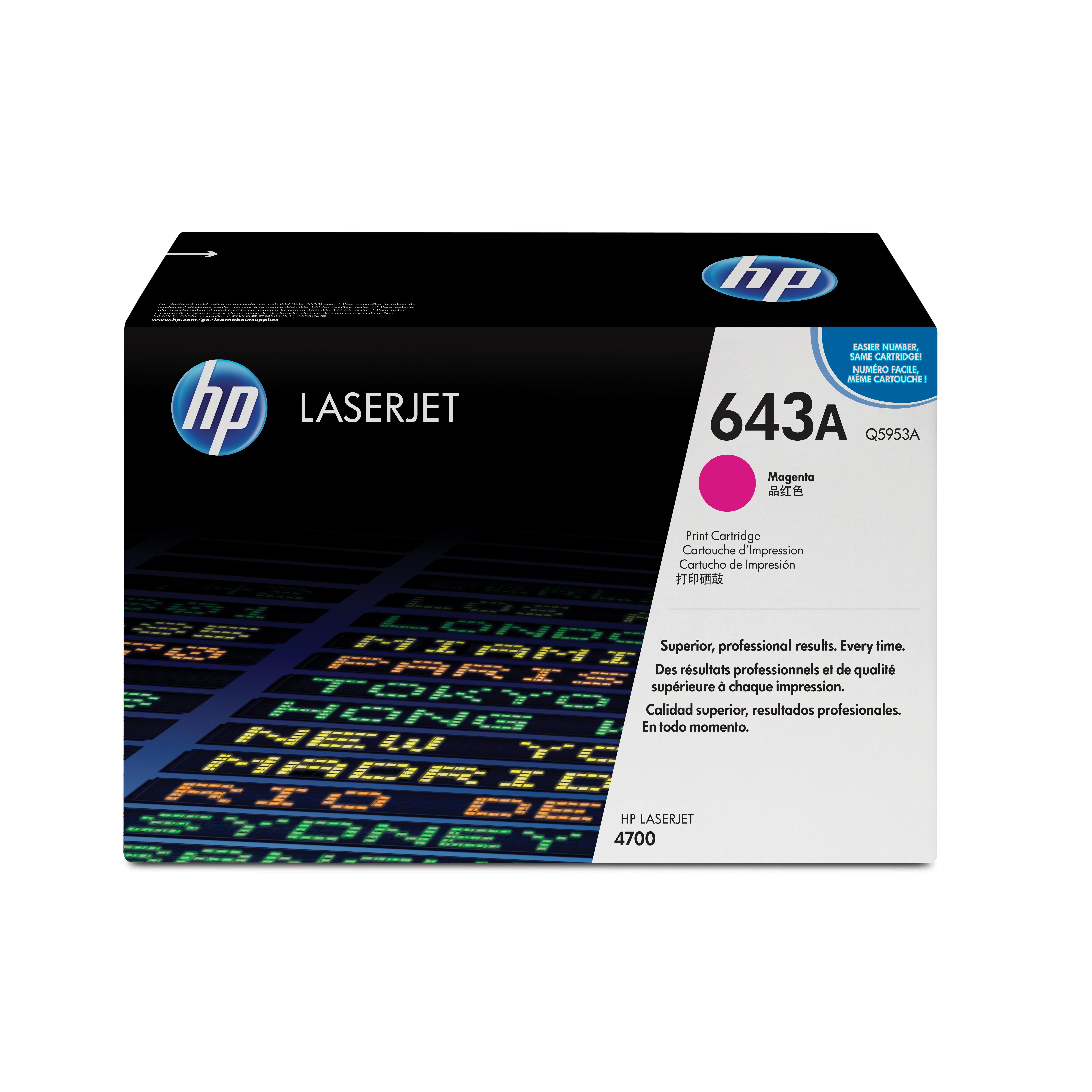 HP 643A Laser Toner Cartridge Page Life 10000pp Magenta Ref Q5953A