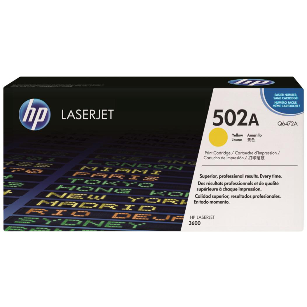 HP 502A Laser Toner Cartridge Page Life 4000pp Yellow Ref Q6472A