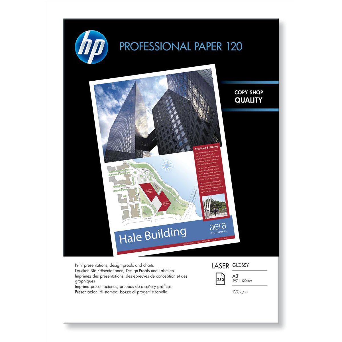 Hewlett Packard [HP] Professional Laser Paper Glossy 120gsm A3 Ref CG969A [250 Sheets]