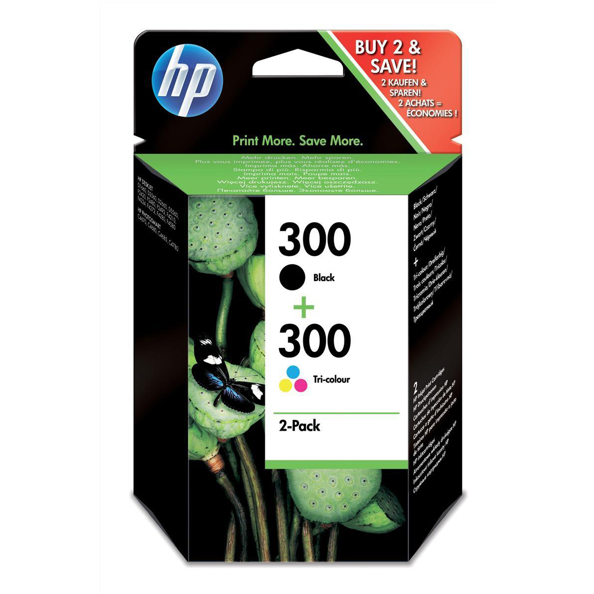 Hewlett Packard [HP] No.300 Inkjet Cart Page Life 200ppBlack/165ppTri-Colour 4ml Ref CN637EE [Pack 2]