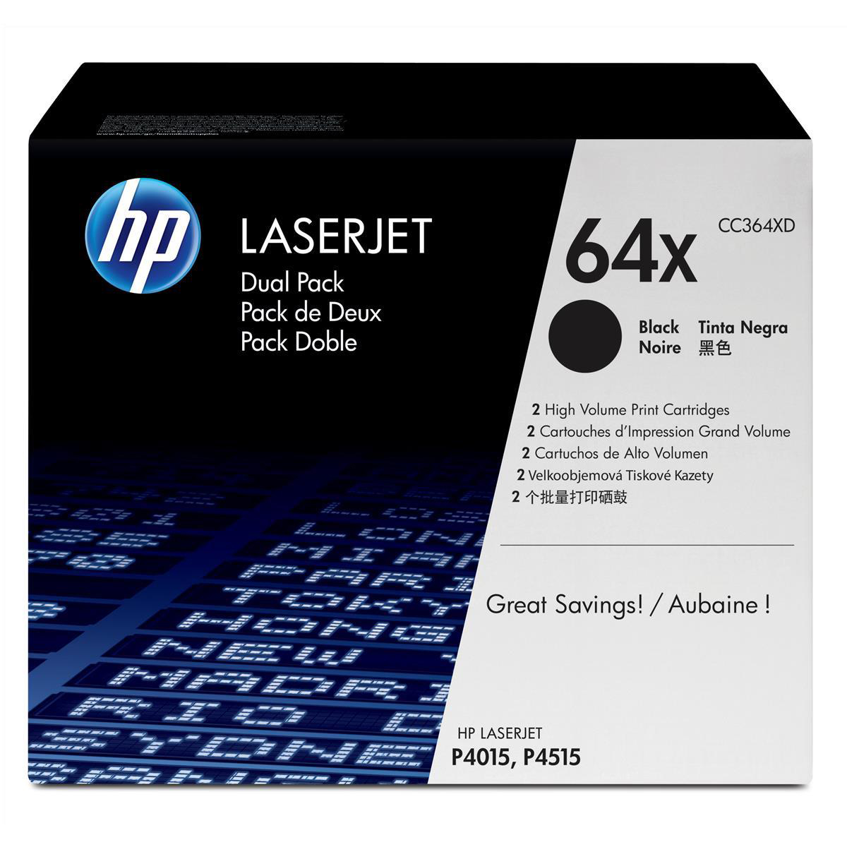 HP 64X Laser Toner Cartridge High Yield Page Life 24000pp Black Ref CC364XD[Pack 2]