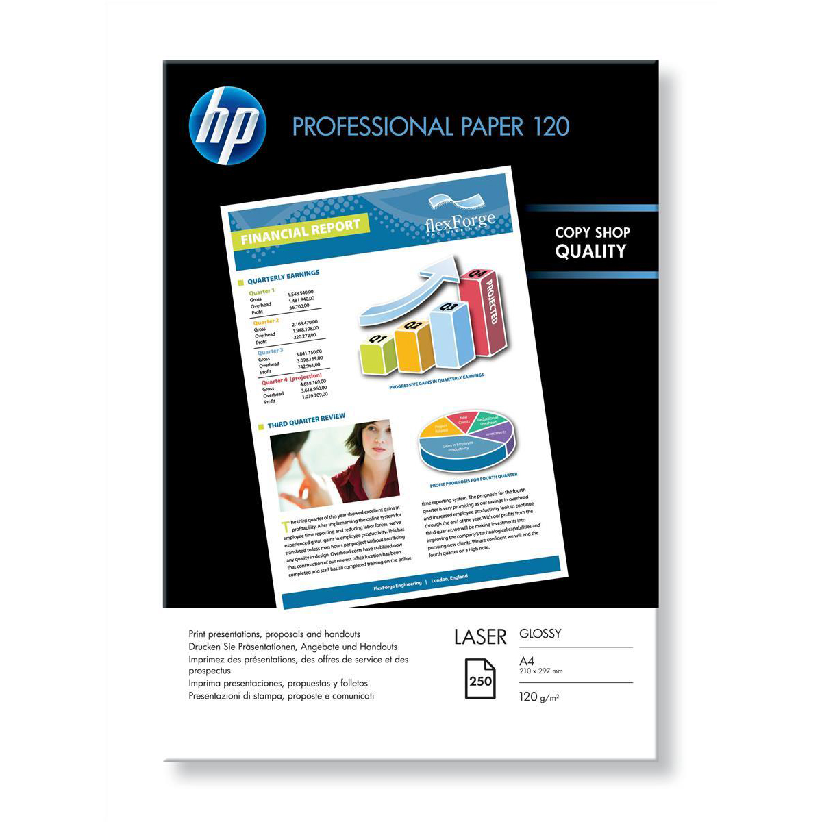 Hewlett Packard [HP] Professional Laser Paper Glossy 120gsm A4 Ref CG964A [250 Sheets]
