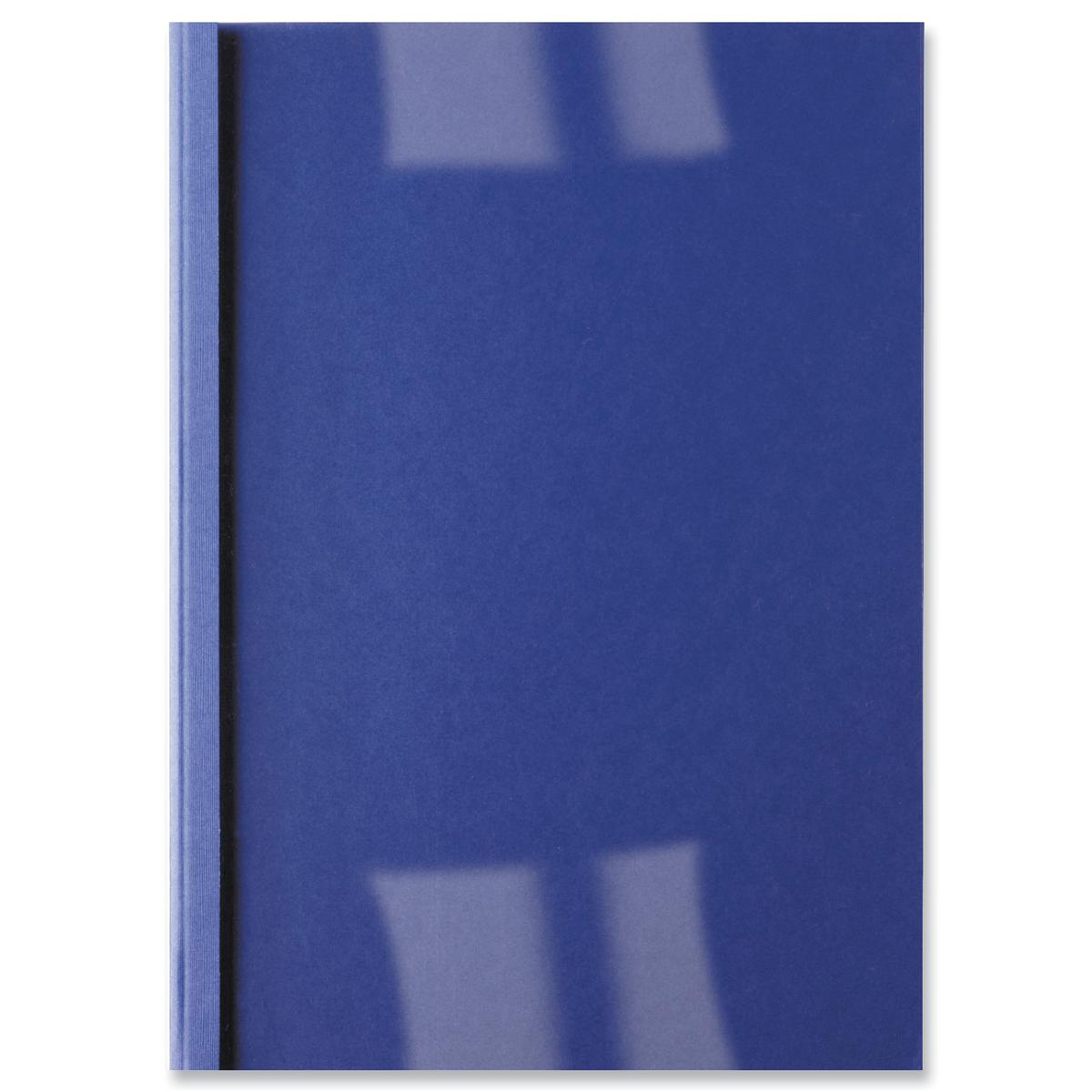 GBC Thermal Binding Covers 1.5mm Front PVC Clear Back Leathergrain A4 Royal Blue Ref IB451003 Pack 100
