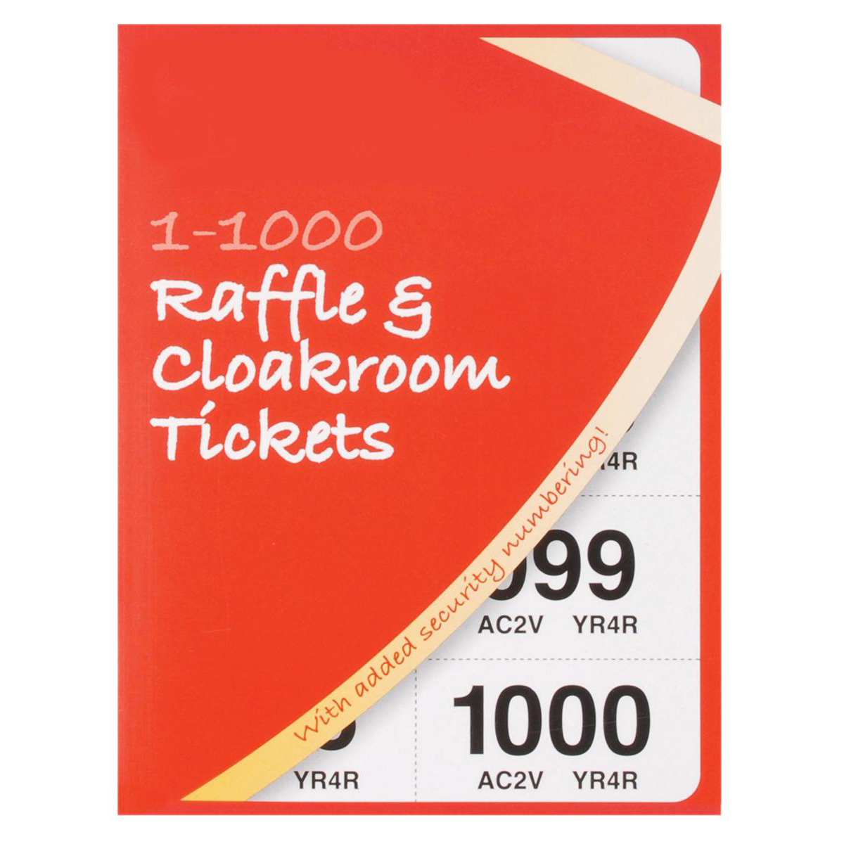 Cloakroom or Raffle Tickets Numbered 1-1000 Assorted Colours [Pack 6]