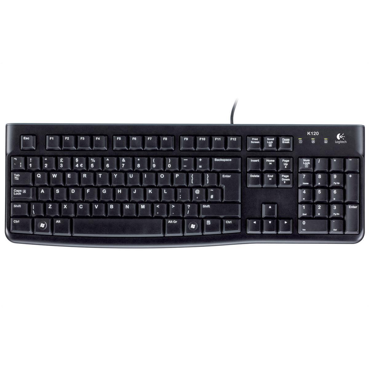 Keyboards Logitech K120 UK Business Keyboard Wired USB Low-profile Keys Ref 920-002524