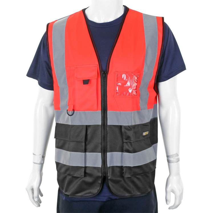 Bodywarmers BSeen High-Vis Two Tone Executive Waistcoat Medium Red/Black Ref HVWCTTREBLM *Up to 3 Day Leadtime*