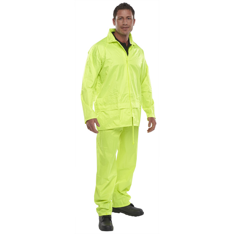 Rainsuits B-Dri Weatherproof Nylon B-Dri Weatherproof Suit Large Yellow Ref NBDSSYL *Up to 3 Day Leadtime*