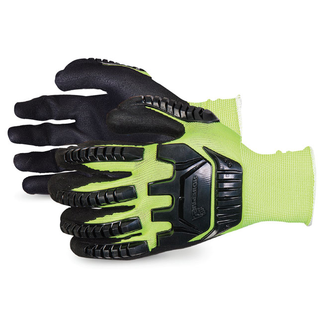 Superior Glove Dexterity Hi-Vis Anti-Impact Black Widow 8 Yellow Ref SUS13YPNVB08 *Up to 3 Day Leadtime*