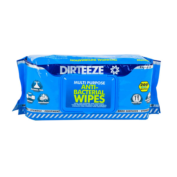Dirteeze Anti-Bacterial Wipes Soft Dispenser Pack Blue Ref DZAB200 [200 Wipes] Up to 3 Day Leadtime