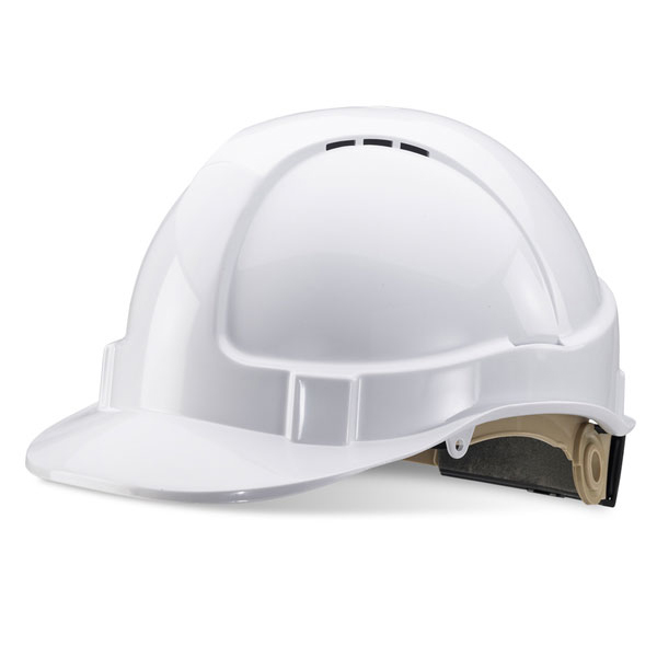 BBrand Wheel Ratchet Vented Safety Helmet White*Up to 3 Day Leadtime*