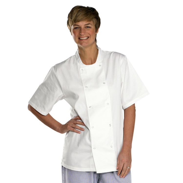 High Visibility Click Workwear Chefs Jacket Short Sleeve White Small Ref CCCJSSWS *Up to 3 Day Leadtime*
