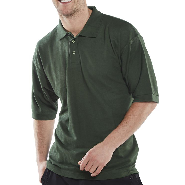 Click Workwear Polo Shirt Polycotton 200gsm XL Bottle Green Ref CLPKSBGXL *Up to 3 Day Leadtime*