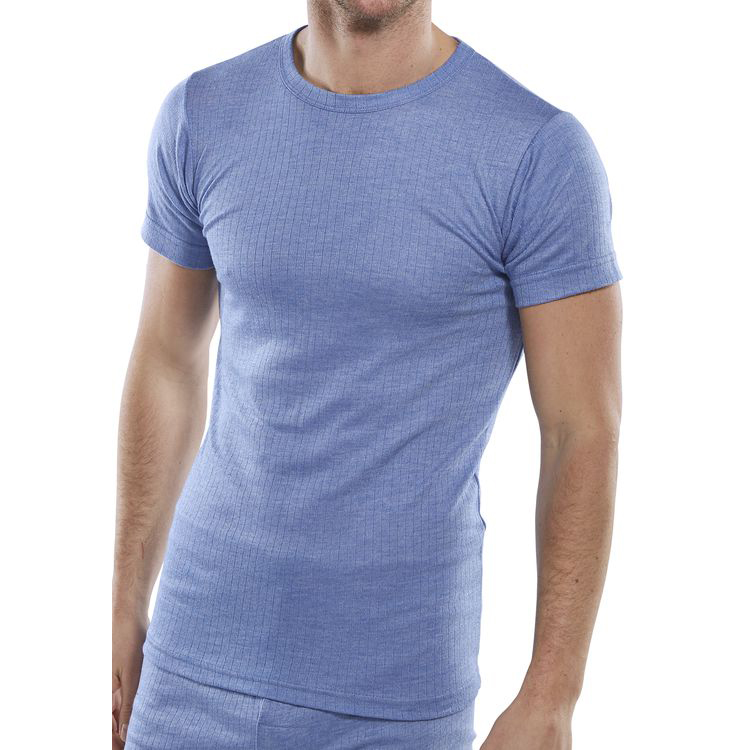 Click Workwear Vest Short Sleeve Thermal Lightweight Large Blue Ref THVSSL *Up to 3 Day Leadtime*