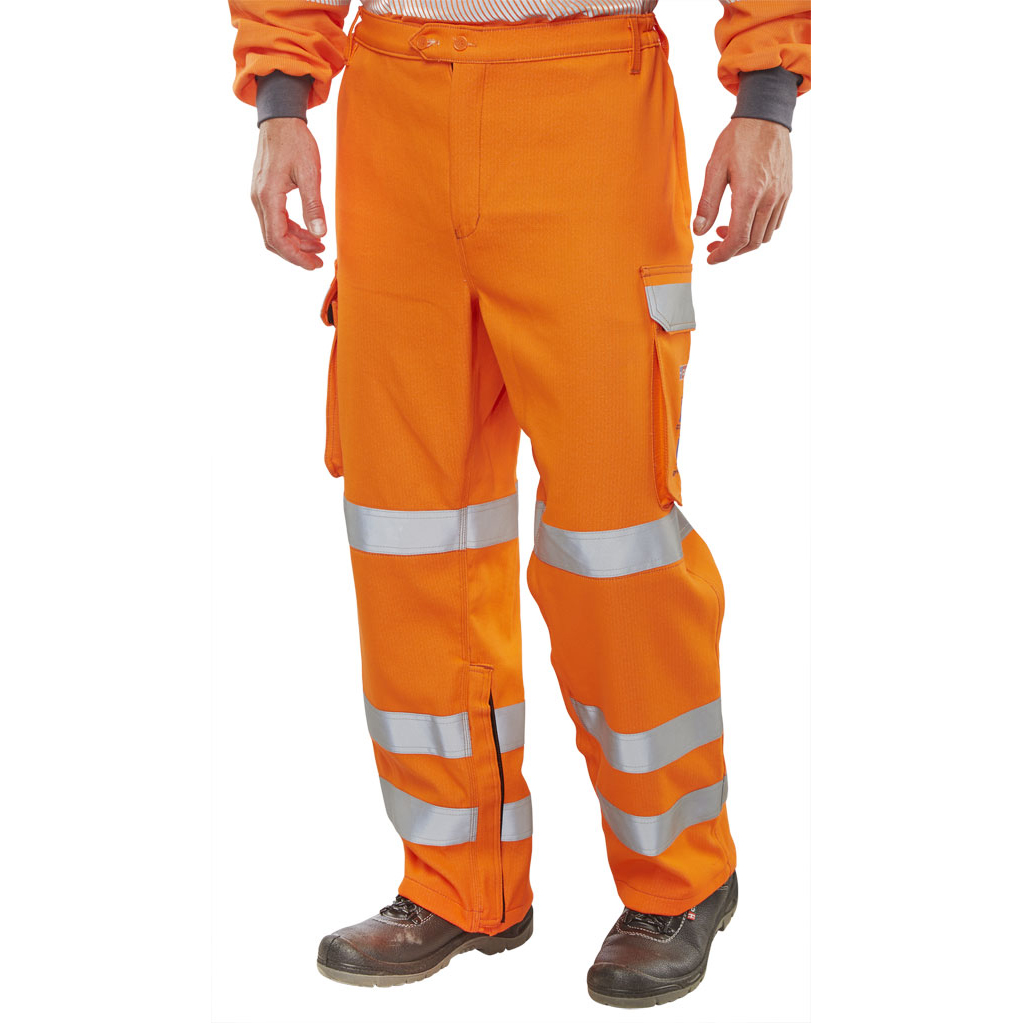 High Visibility Click Arc Flash Trouser GO/RT Fire Retardant Hi-Vis Orange 42-Tall Ref CARC52OR42T *Up to 3 Day Leadtime*