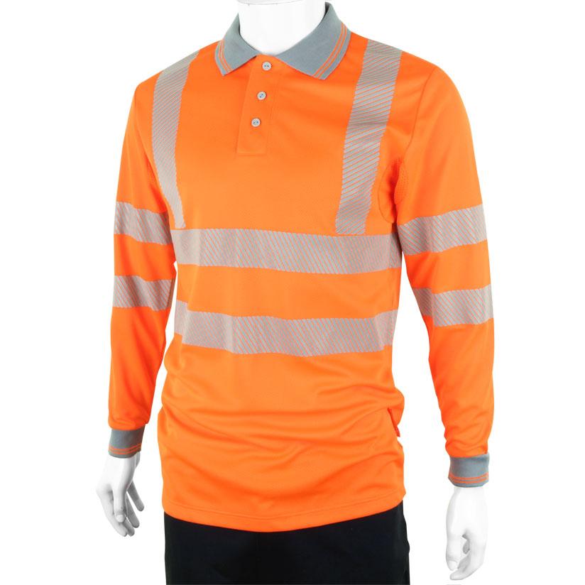 Polo Shirts B-Seen Executive Polo Long Sleeve Hi-Vis 6XL Orange Ref BPKEXECLSOR6XL *Up to 3 Day Leadtime*