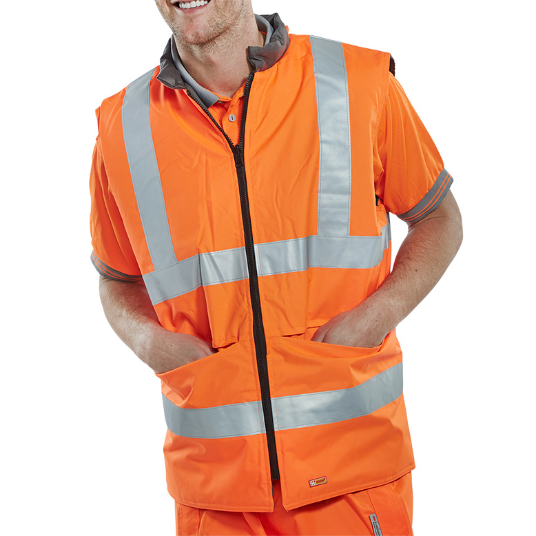 Vests / Bodywarmers / Jerkins / Gilets B-Seen Reversible Hi-Vis Bodywarmer 6XL Orange/Grey Ref KFLGMWD08 *Up to 3 Day Leadtime*