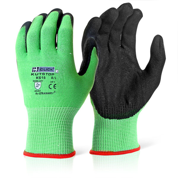 Limitless Click Kutstop Micro Foam Nitrile Green Cut Level 5 Green L Ref KS15L Pack 10 *Up to 3 Day Leadtime*