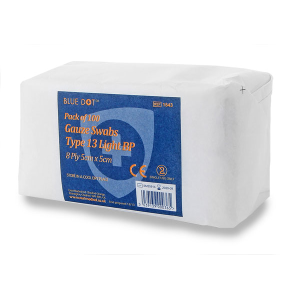 Equipment Click Medical Gauze Swabs Non-sterile 5x5cm White Ref CM0450 Pack 100 *Up to 3 Day Leadtime*