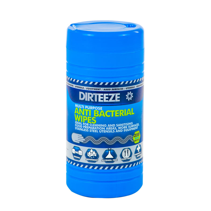 Dirteeze Anti-bacterial Wipes Jumbo Tub Blue Ref DZAB250 [250 Wipes] Up to 3 Day Leadtime