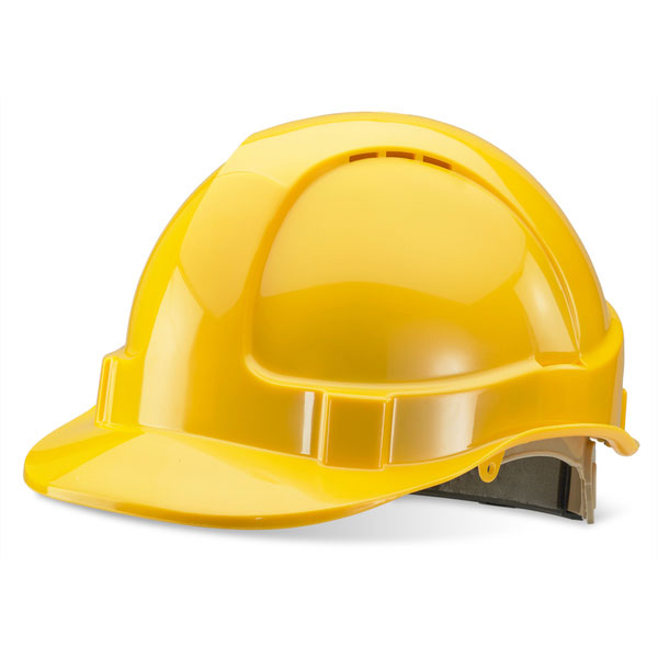 B-Brand Wheel Ratchet Vented Safety Helmet Yellow Ref BBVSHRHY *Up to 3 Day Leadtime*