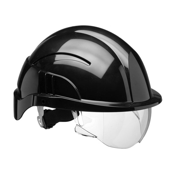 Centurion Vision Plus Safety Helmet With Integrated Visor Black*Up to 3 Day Leadtime*